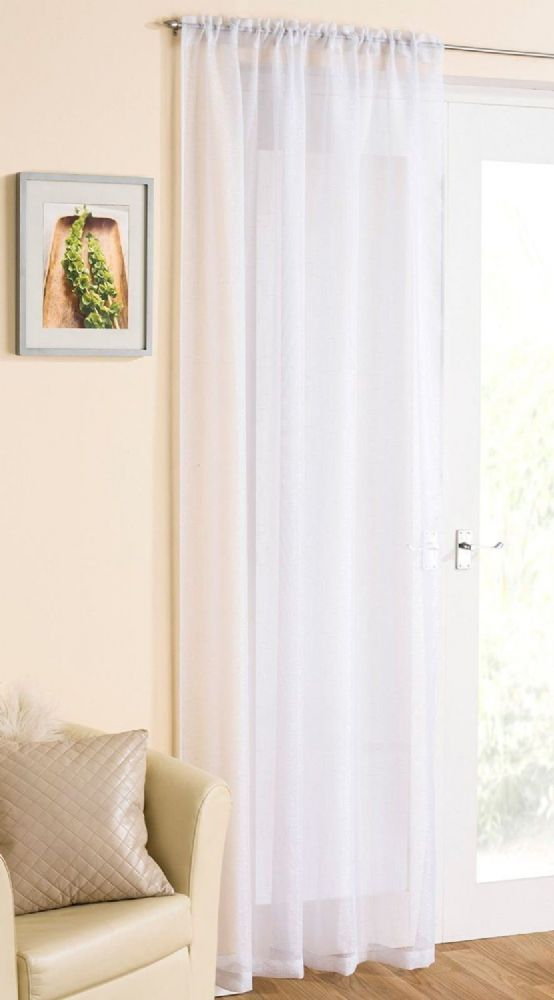 GORGEOUS WHITE SPARKLE GLITTER VOILE NET CURTAIN PANEL 749 EACH FREE POSTAGE UK MAINLAND